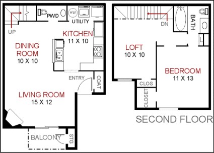 810 sq. ft. to 942 sq. ft. L3-TL3 floor plan