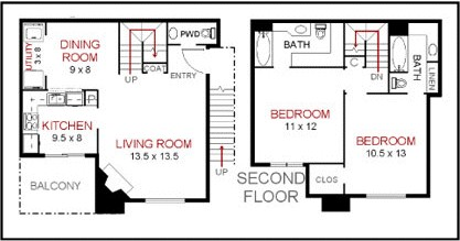 1,143 sq. ft. C1 floor plan