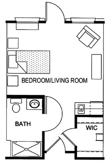 343 sq. ft. floor plan