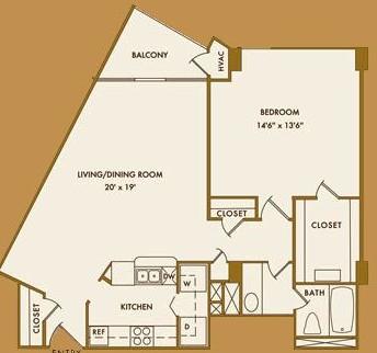 834 sq. ft. C floor plan