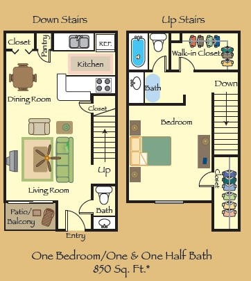 850 sq. ft. A3 floor plan