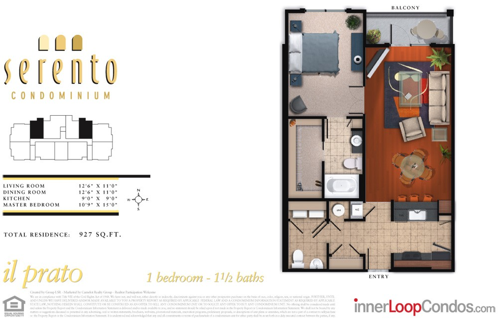 927 sq. ft. il carrara floor plan