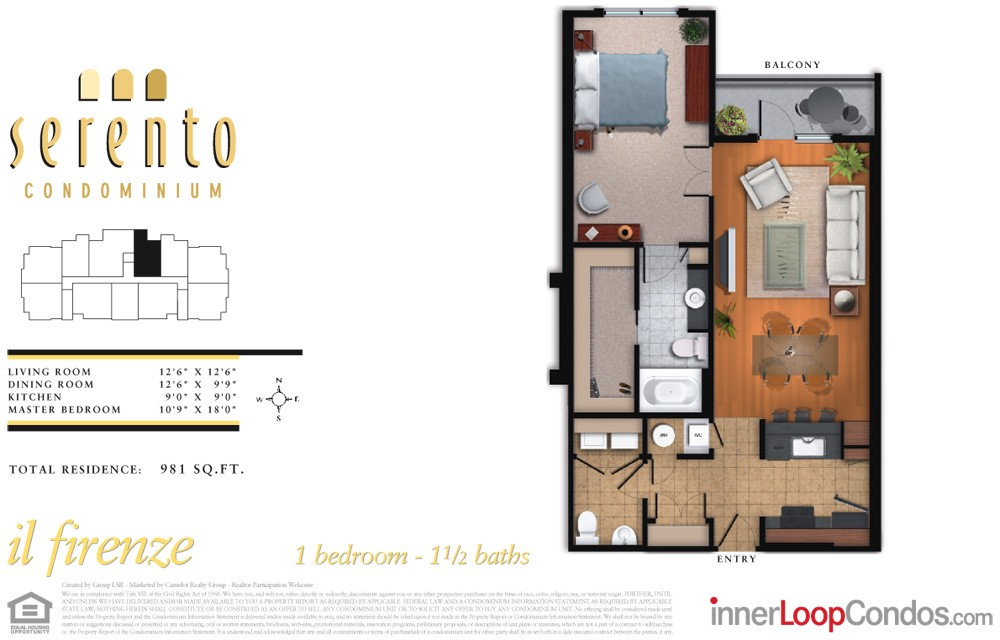 981 sq. ft. il firenze floor plan