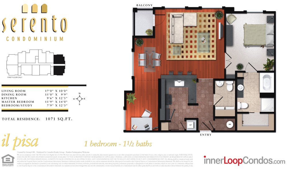 1,071 sq. ft. il prato floor plan