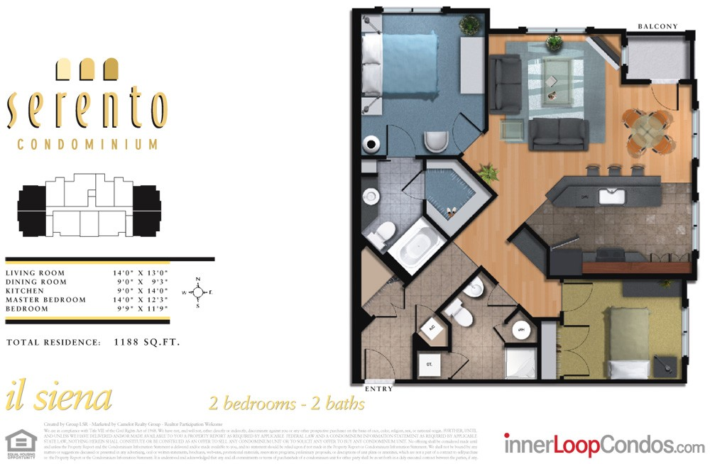 1,188 sq. ft. il arrezzo floor plan