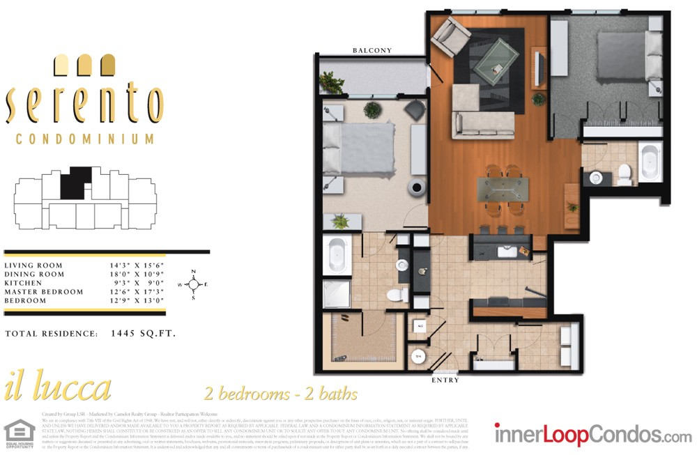 1,445 sq. ft. il siena floor plan