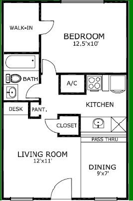 585 sq. ft. floor plan