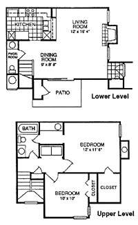949 sq. ft. A floor plan