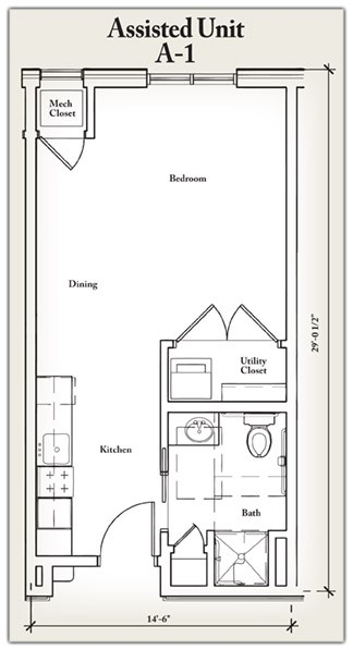 404 sq. ft. A1 floor plan