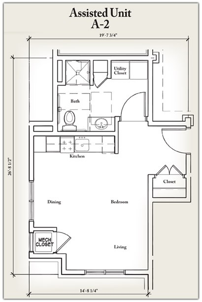 440 sq. ft. A2 floor plan