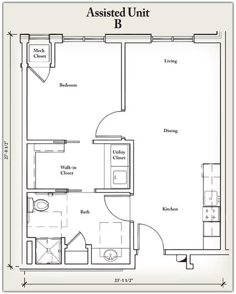 595 sq. ft. B floor plan