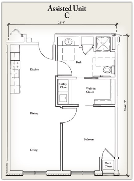 627 sq. ft. C floor plan
