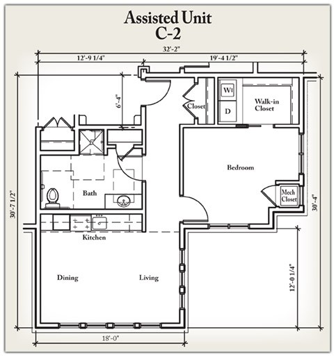 768 sq. ft. C2 floor plan