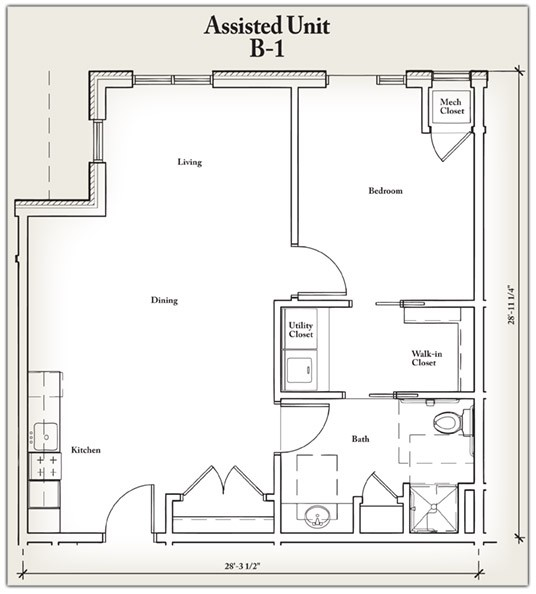 772 sq. ft. B1 floor plan