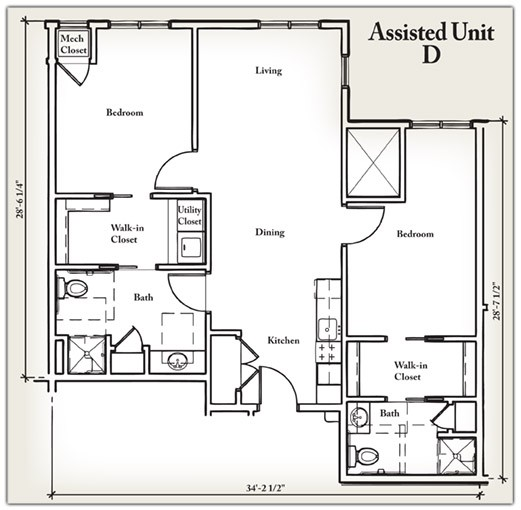 944 sq. ft. D floor plan