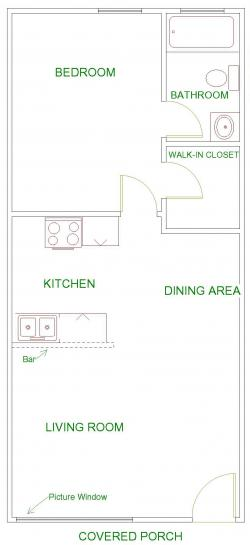 610 sq. ft. floor plan