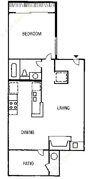 504 sq. ft. to 518 sq. ft. A1 floor plan