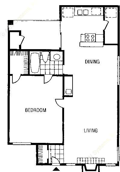 572 sq. ft. to 610 sq. ft. A2 floor plan