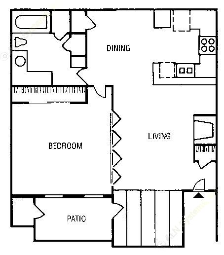 690 sq. ft. to 736 sq. ft. A3 floor plan