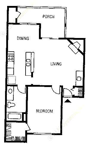 788 sq. ft. A8 floor plan