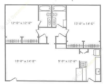 1,100 sq. ft. B2 floor plan