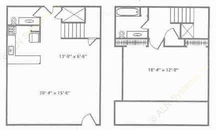 1,200 sq. ft. B3 floor plan