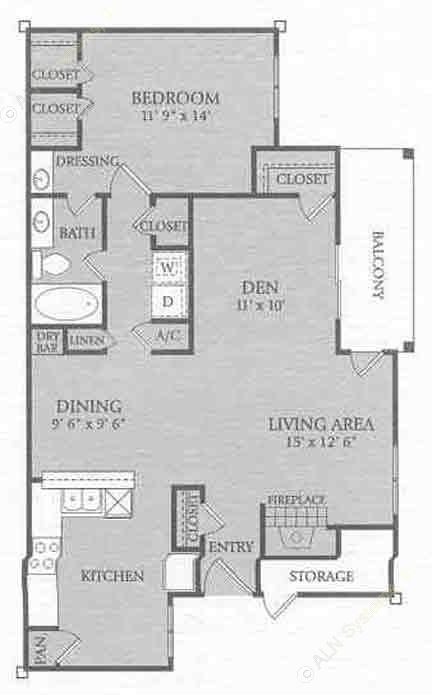 1,062 sq. ft. A3 floor plan