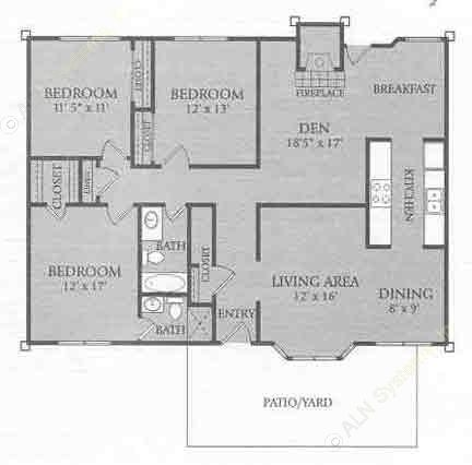 1,482 sq. ft. C2 floor plan