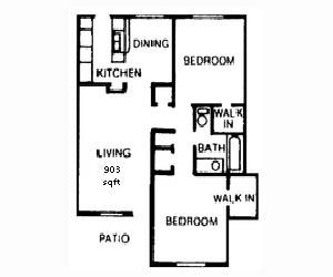 903 sq. ft. floor plan