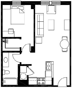 597 sq. ft. to 635 sq. ft. A1 floor plan