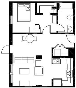 657 sq. ft. A2 floor plan