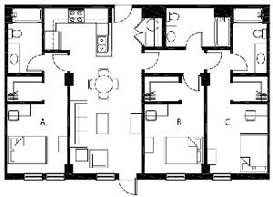 1,224 sq. ft. C1 floor plan