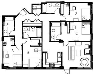 1,553 sq. ft. D2 floor plan