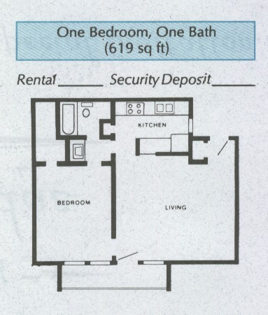 619 sq. ft. A3 floor plan
