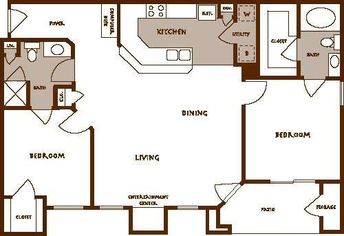 1,193 sq. ft. BARLOW floor plan