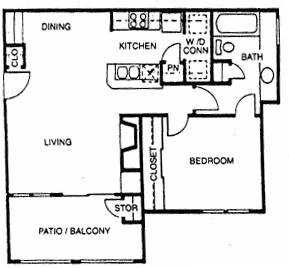 675 sq. ft. A4 floor plan