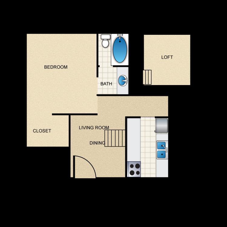 467 sq. ft. E2 floor plan