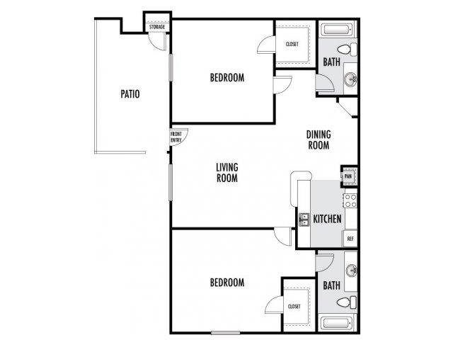 856 sq. ft. floor plan