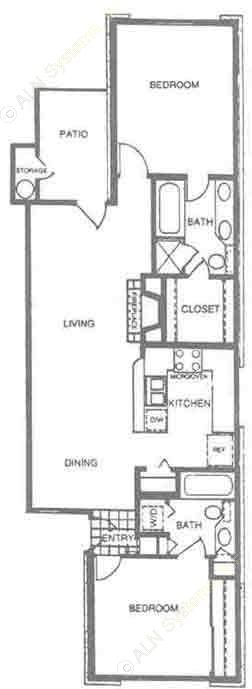 925 sq. ft. B2 floor plan