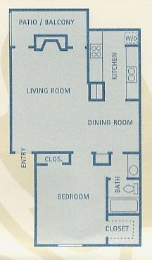 718 sq. ft. A6 floor plan