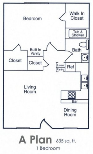 710 sq. ft. SP floor plan