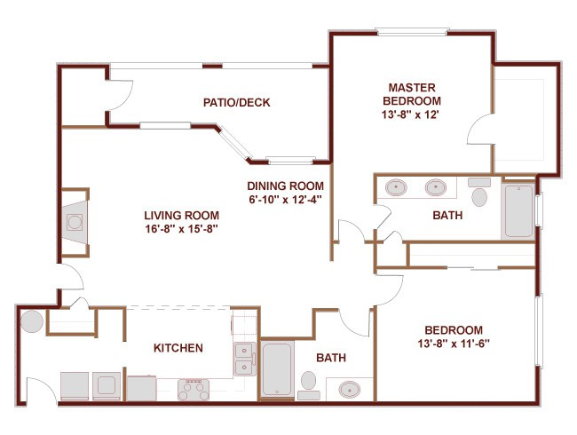 1,196 sq. ft. to 1,415 sq. ft. 22D floor plan