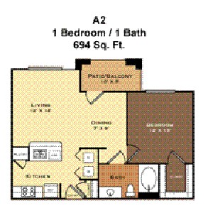 694 sq. ft. A2 floor plan