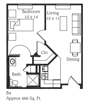 466 sq. ft. B4 floor plan