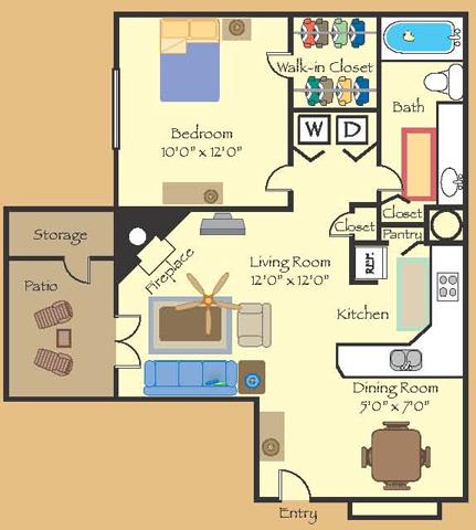 730 sq. ft. 11B floor plan