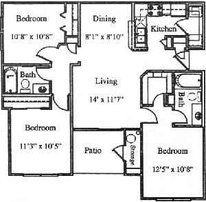 1,034 sq. ft. C2/60 floor plan