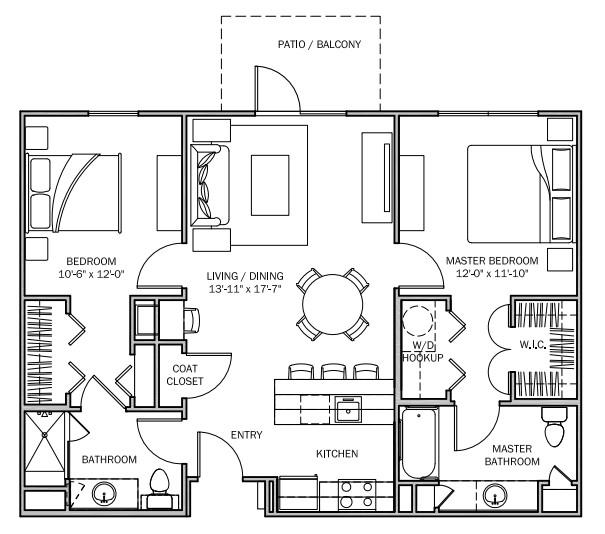 1,001 sq. ft. Buttercup MKT floor plan