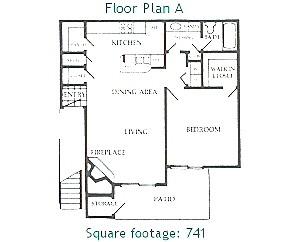 741 sq. ft. A floor plan