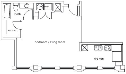 621 sq. ft. GS Plan E floor plan