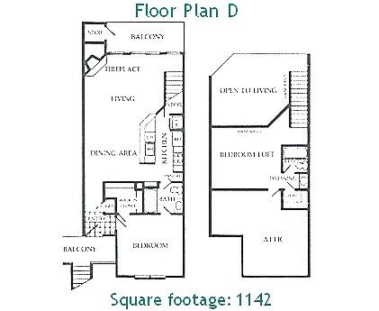 1,142 sq. ft. D floor plan